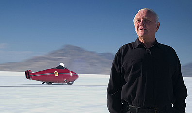 Anthony Hopkins as Burt Munro anticipates breaking the world land speed record at the Bonneville Salt Flats