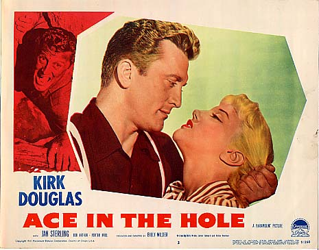 "Kirk Douglas and Jan Sterling from the lobby card from Billy Wilder's lost masterpiece, ""Ace in the Hole"""