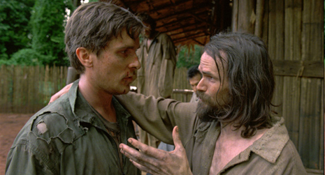 """Christian Bale and the """"Hollywoodized"""" version of Eugene DeBruin, as played by Jeremy Davies"""